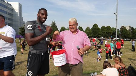 Lawrence Okolie joined in the fundraising campaign at Grenfell Tower (pic Lawrence Lustig)