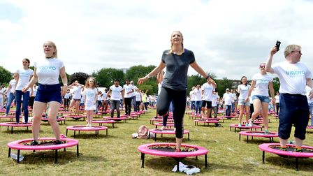Most people on trampolines Guinness World Record attempt at Haggerston Park on 22.06.17. Special gue
