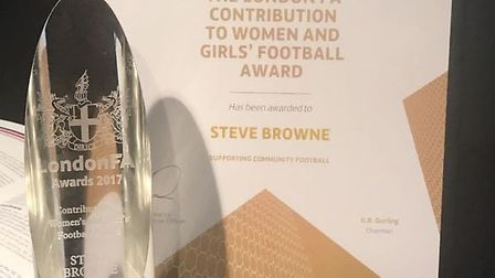The late Steve Brown was honoured by London FA last week for his contribution to women and girls foo