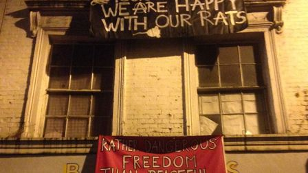 The Barry's Biscuits building in Stoke Newington High Street has been taken over by squatters