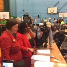 Meg Hillier and Diane Abbott at the election count. Photo: Pat Venditti