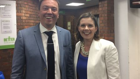 Conservative canddiates Luke Parker and Amy Gray at the election count. Photo: Pat Venditti