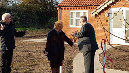 Pictured right to left: Councillor Frank Mortimer (Chairman of Waveney District Council), his wife T