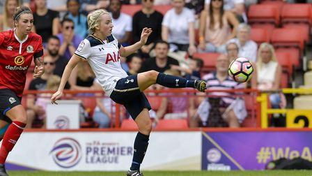 Tottenham Ladies midfielder Sophie Mclean in action during their play-off match with Blackburn Rover