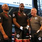 Lawrence Okolie poses for a photo with his team at Bramall Lane, Sheffield (pic Richard Sellers/PA)