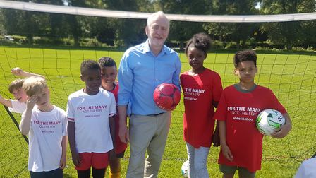 Jeremy Corbyn had a kickabout on Hackney Marshes on Saturday.