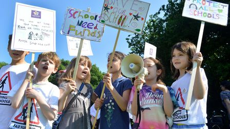 Fair funding for schools protest picnic Highgate Wood 26.05.17. Highgate Primary School pupils