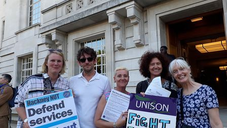 Melanie Norton (centre) with fellow protestors outside Hackney Town Hall.