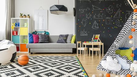 A feature wall can add a splash of fun to a child's playroom