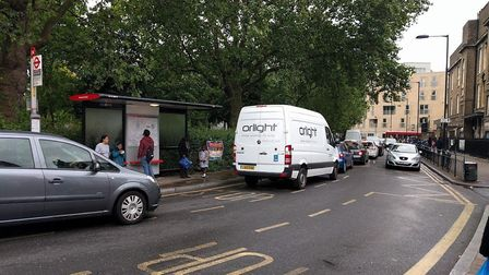 Traffic queuing in Westgate Street, near London Fields Primary School