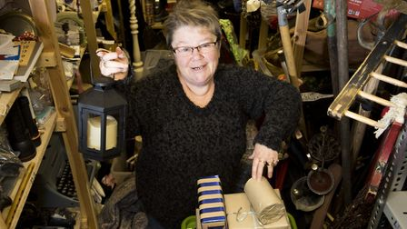 Angela Freakley in the props cupboard at the Seagull Theatre. Picture: Nick Butcher.