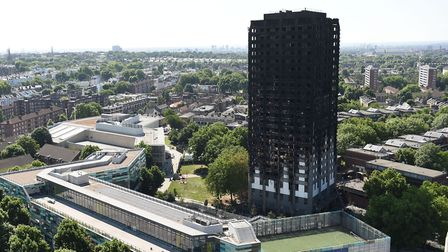 Grenfell Tower in west London after a fire engulfed the 24-storey building on Wednesday morning. Dav
