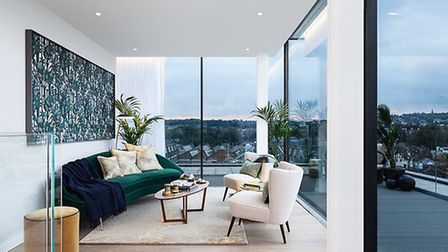 The top floor of the duplex offers even more stunning views out over the City