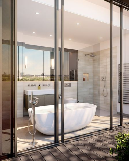 Linton insisted on floor to ceiling glazing even in the bathrooms, so penthouse residents could bath