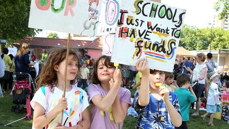 London Fields march against school funding cuts. L to R: Queens Bridge Primary School students Marni