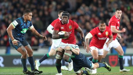 Saracens lock Maro Itoje goes on the charge for the British & Irish Lions against the Blues (pic: Da