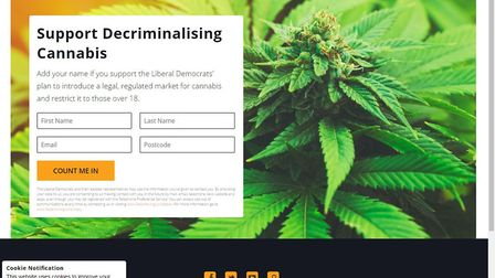 This colourful Facebook dark ad promotes the Lib Dem's policy on decriminalising cannabis