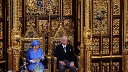 Her Majesty The Queen accompanied by the Prince of wales presents the government's Queen's Speech du