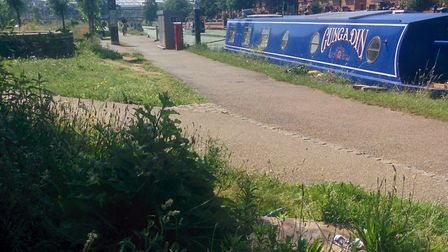 A bin on the towpath in Hackney Wick was removed as part of a plan to cut littering. Picture: NBTA