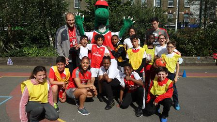 Arsenal and England's Alex Scott during a visit to Princess May Primary School in Hackney for the Pr