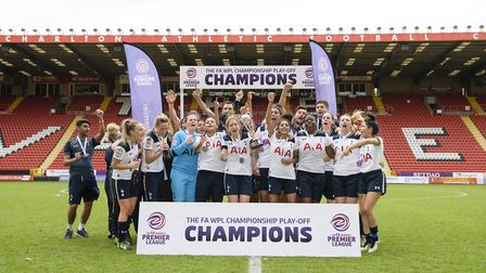 Tottenham Ladies celebrate promotion to FA Women�s Super League 2 after beating Blackburn Rovers 3-0