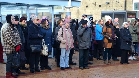 Crowds gather at Lowestoft railway station to mark Lowestoft Holocaust Memorial Day in 2017. Photo: