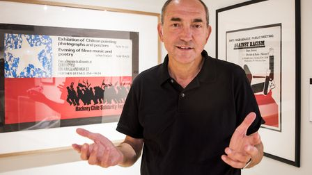 Neil Martinson at the exhibition launch in front of his prints. Photo: Hackney Council/ Hackney Muse