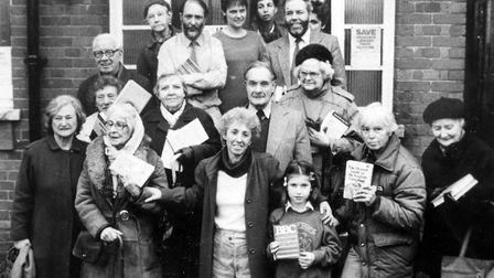 Protesters outside Highgate Library in Shepherd's Hill in December 1987.