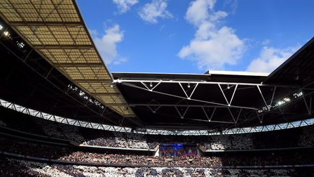 Tottenham Hotspur fans in the stands at Wembley (pic: Adam Davy/PA)