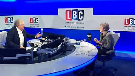 Theresa May in the LBC studio. Photograph: @RobbieGibb/PA Wire