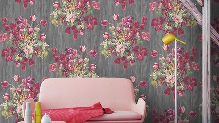 The New Pretty: Euonia watercolour floral wallpaper, pink and grey, 99 a roll, available from Woodch