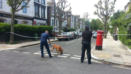 The murder scene in Lawford Road, Kentish Town, following the death of Tamara Holboll in May 2014