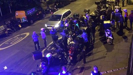The scene after the acid attack in Hackney Road on Thursday. Picture: @sarah_cobbold/PA Wire