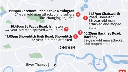 A timeline of the Hackney and Islington acid attacks. Police could not supply details of a sixth att