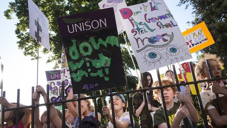 Children, parents and teachers protest against school funding cuts in Clissold Park in May, ahead of