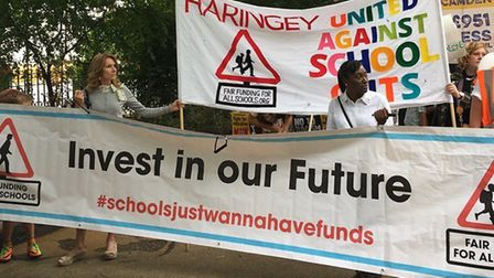 The Haringey Fair Funding for All Schools Haringey banner (pictured) was at the forefront of the par