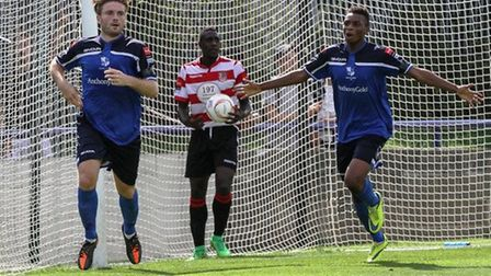 Billy Healey celebrates scoring for Wingate & Finchley during the 2015/16 season (pic: Martin Addiso