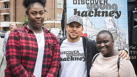 Kesi from Rudimental with Alter Ego winners Kai and Princess at Well Street Market. Photo: Hackney C