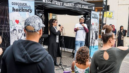 Kesi from Rudimental watches Di Endree performing at Well Street Market. Photo: Hackney Council/ Sea