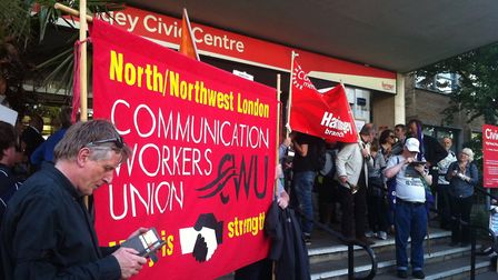 Members of Unite, the Socialist Workers Party and the GMB union joined members of the public in a sh