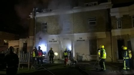 """London Fire Brigade tweeted: """"Around 80 firefighters tackle fire at a school in #Hackney, half of ba"""