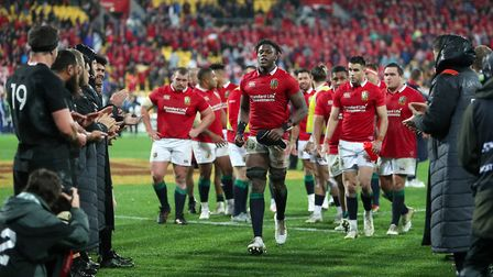 Maro Itoje leads the British & Irish Lions off after beating the All Blacks in Wellington (pic David
