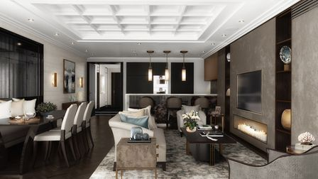 The open plan living areas will include herringbone-patterned parquet flooring