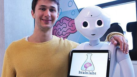 Dan Gilbert, CEO of Brainlabs with Pepper the new receptionist