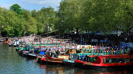 The Canal Cavalcade takes place in Little Venice each May Day bank holiday