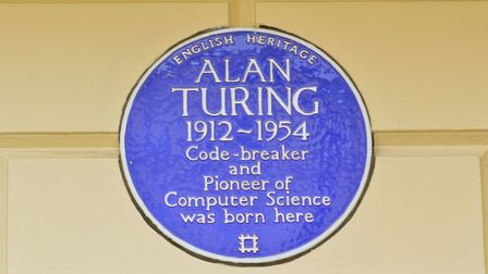 Alan Turing plaque on The Colonnade Hotel