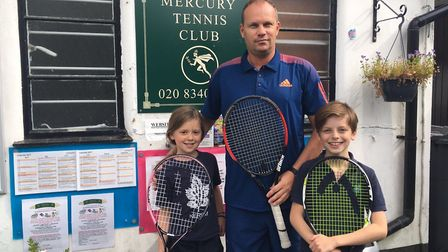Danny Ward with two young tennis hopefuls at Mercury Tennis Club