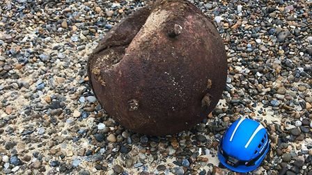 An old mooring buoy prompted a bomb scare after it washed up onto Pakefield Beach and was mistaken f