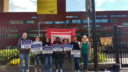 Staff and parent campaigner s took part in a joint lobby of a Stoke Newington School governors' meet