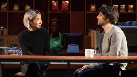 Kae Alexander and Colin Morgan in Gloria at Hampstead Theatre. Picture: Marc Brenner